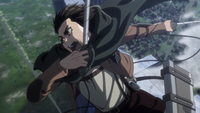 Eren prepares to plug the breach
