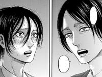 Eren asks Mikasa a question