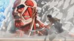 Eren und der kolossale Titan in Trost
