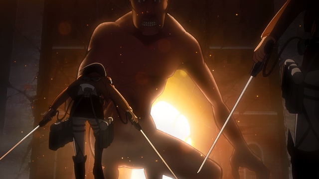 File:Mikasa and Armin confront the Titan.png