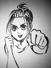 Isayama's initial sketch of Gabi