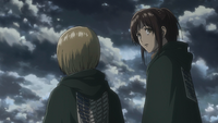 Armin and Sasha hear Reiner's confession