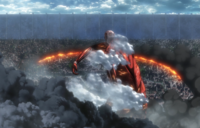 The Colossal Titan sets Shiganshina on fire