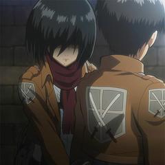 Mikasa sobreprotege a Eren.