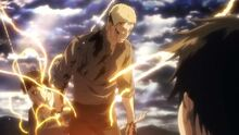 Reiner se transforme en titan devant Eren