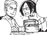 Erwin lets Hange work next to him