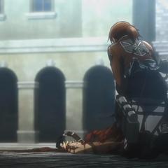 Armin ve a Hannah tratando de reanimar al fallecido Franz.