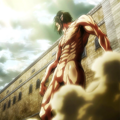 Eren se convierte en titán.