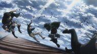 Mikasa attacks Reiner and Bertholdt