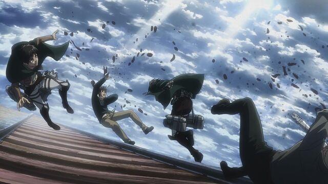 File:Mikasa attacks Reiner and Bertholdt.jpg