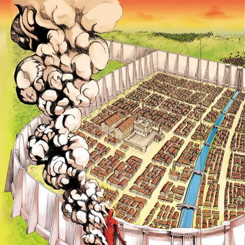 Колоссальный Титант атакует Шиганшину в манге