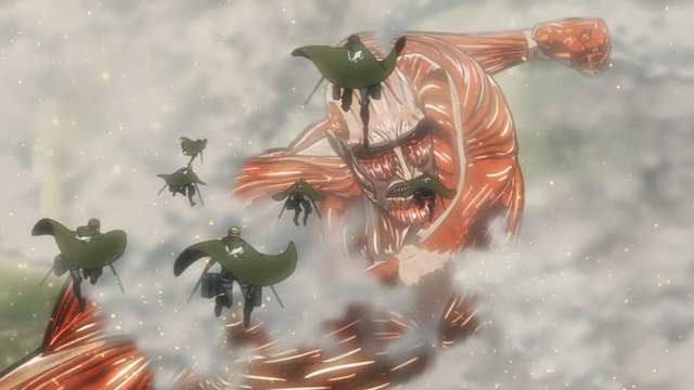 File:The Scouts attack the Colossal Titan.png