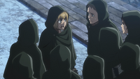 Armin gives orders to the Scouts