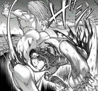 Mikasa cripples Jaw Titan