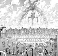Eren and the Colossus Titans arrive at Marley