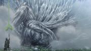 Le titan d'Eren rebouchant le trou