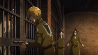 Armin lets Mikasa out of her cell