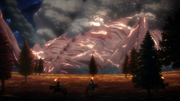 Titan de Rhodes se déplaçant vers le mur