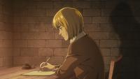 Armin writes down Eren's recount