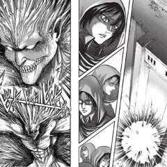 Mikasa observa a Eren sellando el agujero.