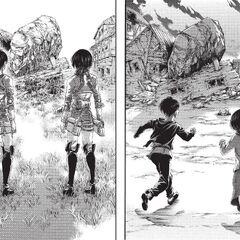 Mikasa y Eren vuelven a casa.