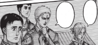 Reiner, Bertolt and Annie are waiting for the Titans to gather in Trost