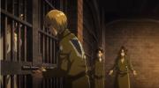 Armin, Levi und Hanji vor der Zelle