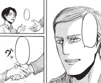 Erwin welcomes Eren to the Corps