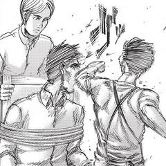 Levi golpea a Sannes.