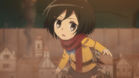 Mikasa watches Eren insert the key
