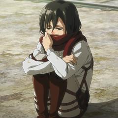 Mikasa frustrada al no poder ayudar a Eren.