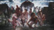 Le Titan Singe mène une horde de titans