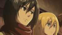 Mikasa tells Historia to punch Levi