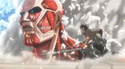 Eren vs Titan Colossal