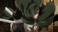 Erwin blocks Levi's attack