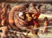 Reiner przedzierający się przez tłum tytanów