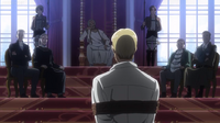 Erwin is brought to the throne room for his judgment