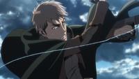 Jean befreit seinen Donnerspeer von der Leine
