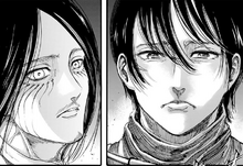 Mikasa questions Eren about his killing of civilians