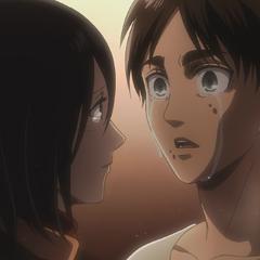 Mikasa le da las gracias a Eren.