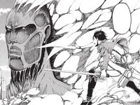 Eren faces the Colossus Titan
