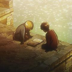 Armin le muestra el libro de su abuelo a Eren.