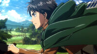 Eren rides with Squad Levi