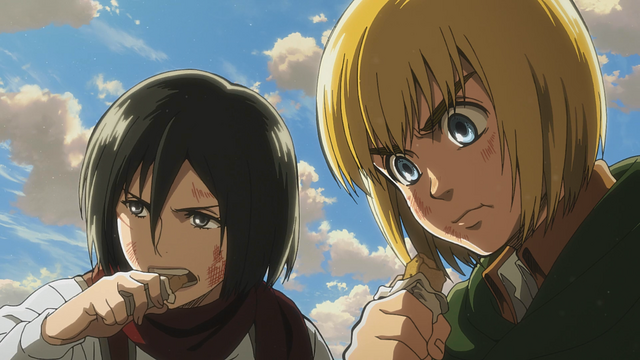 File:Mikasa and Armin eating military biscuits.png