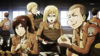 Shingeki no kyojin-14-sasha-thomas-krista-connie-cooking-cleaning-potatoes-comedy-scolding-memories