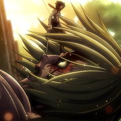 Mikasa detiene a Annie.