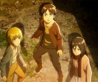 Armin, Eren, and Mikasa see the Colossal Titan
