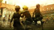 Eren, Armin et Mikasa acculés