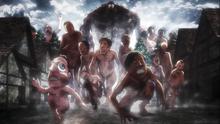 Tytan Zwierzęcy prowadzący armię tytanów