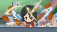 Mikasa rapidly flips burgers